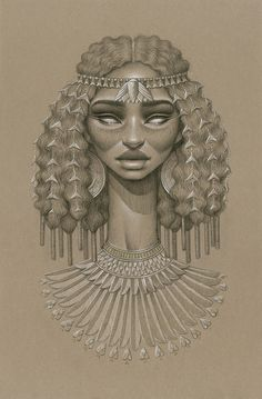 """""""Nefertum"""" by Sara Golish Charcoal, conté & gold ink on toned paper. 12.5"""" x 19.5"""" #Afrofuturism #Africa #SciFi #NaturalHair #BlackArt #Blackisbeautiful #Egypt #lotus #art #drawing All artwork © Sara Golish and may not be reproduced or altered without my consent."""