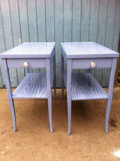 vintage side tables in lavender faux bois Furniture Fix, Funky Furniture, Upcycled Furniture, Home Decor Furniture, Table Furniture, Furniture Makeover, Painted Furniture, Diy Home Decor, Furniture Ideas