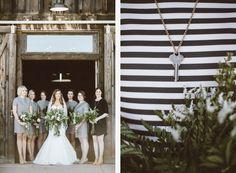 Striped short-sleeved bridesmaid dresses and key necklaces. A unique idea.