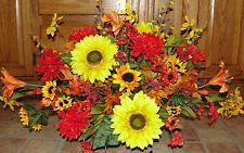 Fall Silk Headstone Saddle Spray Arrangements Thanksgiving Day Memorial Flowers