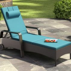 dCOR design Riverside Patio Chaise Lounge with Cushion - Fabric: Sky Blue Patio Chaise Lounge, Patio Rocking Chairs, Patio Chairs, Chaise Lounges, Garden Furniture Sets, Online Furniture, Living Room Decor Curtains, Patio Glider, Family Room Furniture