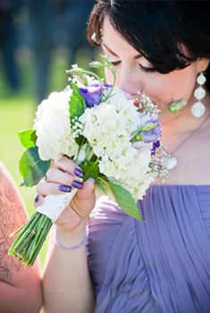 Bridesmaid Bouquet with Green, Purple and White Florals @Martha Clara Vineyards @W Studios New York