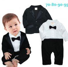 2015 crianças menino 2 pcs set cavalheiro laços macacão de bebe terno + jaquetas vestido de festa vestuário 721A em Conjuntos de Mamãe e Bebê no AliExpress.com | Alibaba Group