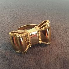 """Kate Spade Take A Bow Ring Gold tone, large bow ring. Super cute! Size 6. Bow measures 1.5"""", band is .25"""" wide. kate spade Jewelry Rings"""