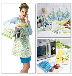 Apron, Towel, Potholders and Bags, Sewing Pattern, McCalls 6479, DIY Kitchen Accessories