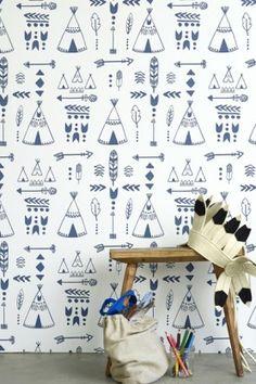 Children's Wallpaper - Teepees, A Tribal Gathering - Indigo/White