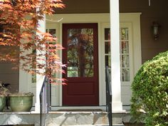 traditional exterior by Soorikian Architecture--oxblood red door Exterior Trim, Exterior Colors, Exterior Paint, Exterior Design, Front Door Design, Front Door Colors, Traditional Exterior, Traditional Design, Marsala