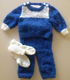 Knitted Boucle Baby Jumper, Pants and Socks Set on Etsy, $20.00 AUD