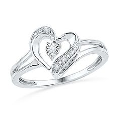 Sterling Silver Diamond Accent Ribbon Heart Ring
