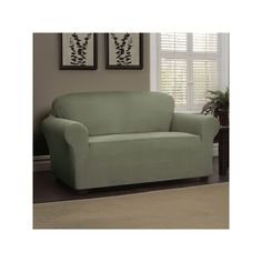 Heather Stripe Stretch Sofa Slipcover, Green