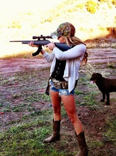A country girl can survive. Love a girl that will hunt this is cute it would be great with si in the back ground