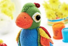 Colorful Knitted Parrot Soft Toy [FREE Knitting Pattern]
