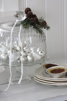 Christmas Cloche with glass baubels underdeath