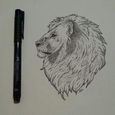 Lion with pointillism, Faber Castell PittPen XS