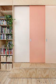 sliding doors peach plywood