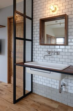 Excite Your Visitors with These 14 Cute Half-Bathroom Layouts Modern Interior, Interior Styling, Japanese Home Decor, Toilet Design, Bathroom Light Fixtures, Laundry In Bathroom, Washroom, Bathroom Layout, Interiores Design