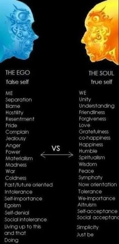 "Ego vs Soul - Look down the list, what could you change? Then ask yourself ""how would my life be different"""