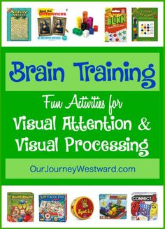 Brain Training Activities for Visual Attention and Visual Processing We love brain training activities! They have made such a difference in our homeschool. Here is a list of several activities we use to strengthen visual attention and visual processing. Visual Motor Activities, Visual Perceptual Activities, Cognitive Activities, Train Activities, Therapy Games, Therapy Activities, Sensory Activities, Ot Therapy, Speech Therapy