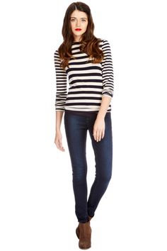 Oasis stripe top - with skinny jeans and ankle boots - autumn wardrobe staple!