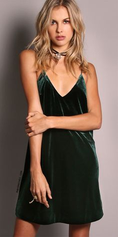 Velvet Cami Mini Dress HUNTER GREEN