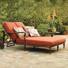 British Colonial Double Chaise Lounge with Cushions - Frontgate