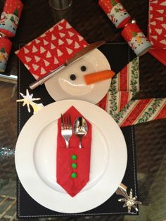 Snowman table setting                                                                                                                                                     More