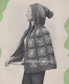 Granny Square Hooded Cape Crochet Pattern Boho 70s Vintage Poncho Coat Hippie…