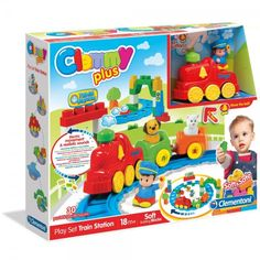 Clementoni Clemmy Plus Play Train Station Set First Birthday Gifts, First Birthdays, Cubes, Block Play, Gaming Station, Soft Play, Baby Games, Kid Beds, Train Station