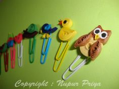 nupur creatives: Quilled Bookmarks 2 lots of ideas, fruit, florals, animals