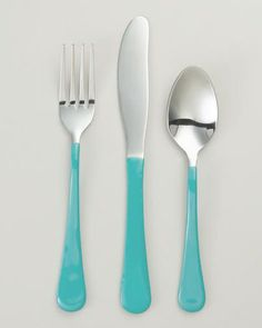 Coastal; Aqua Enamel Flatware could use nail polish maybe