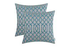 CaliTime Pillow Flocking Geometric Trellis