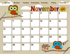 Cute Printable Calendars---I'm thinking for students' take home ...