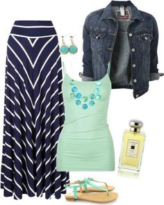 Denim Jacket, Mint Tank Top and Striped  Maxi Skirt with Teal Accessories