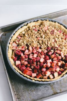 rhubarb-raspberry tart with whipped cream | wit + delight
