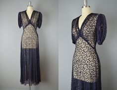 Vintage 30s Dress // 1930s Navy Lace Gown // by OffBroadwayVintage