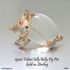 Trifari Sterling Jelly Belly Pig Pin 1943 by AntiquingOnLine