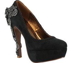 Hades Juana La Loca. This a elegant Victorian influenced closed toe high heel with a slash of sparkle and dazzle!