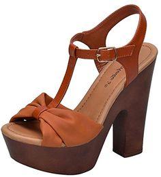 7a301606f61568 Breckelles Womens TStrap Strappy Bow Open Toe Chunky Platform Heel Sandal  85 BM US Tan