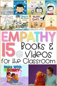 15 empathy books and videos for the classroom to teach kids about empathy, compassion, inclusion, and community. Teachers can use these social awareness books and videos during social-emotional learning lessons and activities with kids. Teaching Empathy, Teaching Social Skills, Teaching Kids, Emotional Books, Social Emotional Activities, Social Work Activities, Kindness Activities, Activities For Kids, School Social Work