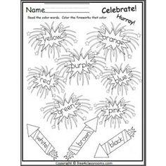 Fireworks Color Words Free Worksheet