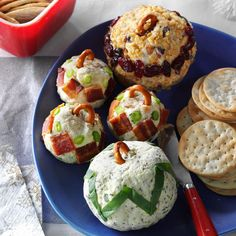Cheese Ball Recipe -Three incredible cheese balls in flavors like pesto, horseradish-bacon and Gorgonzola make for a dazzling display at any get-together. —Taste of Home Test Kitchen, Milwaukee, Wisconsin Holiday Appetizers, Yummy Appetizers, Appetizer Recipes, Appetizer Ideas, Best Cheese Ball Recipe, Cheese Ball Recipes, Potluck Recipes, Holiday Recipes, Cooking Recipes