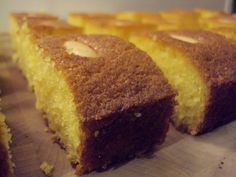 sticky semolina cake (nigella lawson) - with butter and yogurt Greek Sweets, Greek Desserts, Vegan Desserts, Sweet Recipes, Cake Recipes, Dessert Recipes, Lebanese Desserts, Middle Eastern Desserts, Semolina Cake