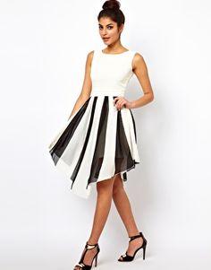 Rare Scoop Back Stripe Skirt Skater Dress