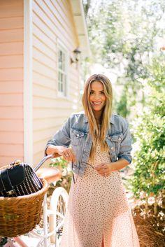 Gal Meets Glam Blush Dotted Maxi -Karlie Kloss x Express dress & denim jacket c/o, J.McLaughlin bag & Pure City Bike