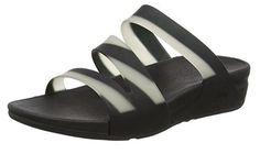 #FitFlop Fitness Schuhe Sandalen -  Superjelly Twist, mit Streifenmuster, Schwarz -Weiß.