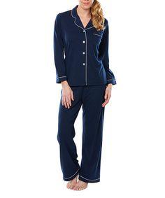 This Navy Satin-Trim Moisture-Wicking Meghan Notch Collar Pajama Set is perfect! #zulilyfinds