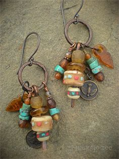 Lucky Peace Dove Shaman Amulet Earrings by maggiezees on Etsy, $60.00