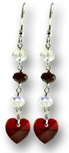 Red Valentine's Day Earrings - made with Swarovski Crystals and .925 Sterling Silver