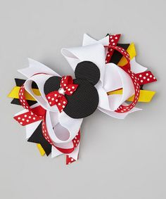 Take a look at this Red & Black Polka Dot Mouse Bow Clip by Bubbly Bows on #zulily today!