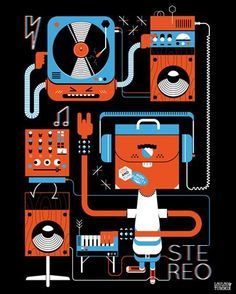 Stereo- exclusive fabric wall decal (Poster that Sticks) by LouLou & Tummie. $39